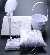 Sweet Love Wedding Guest Book+Flower Basket+Pen+Ring Pillow