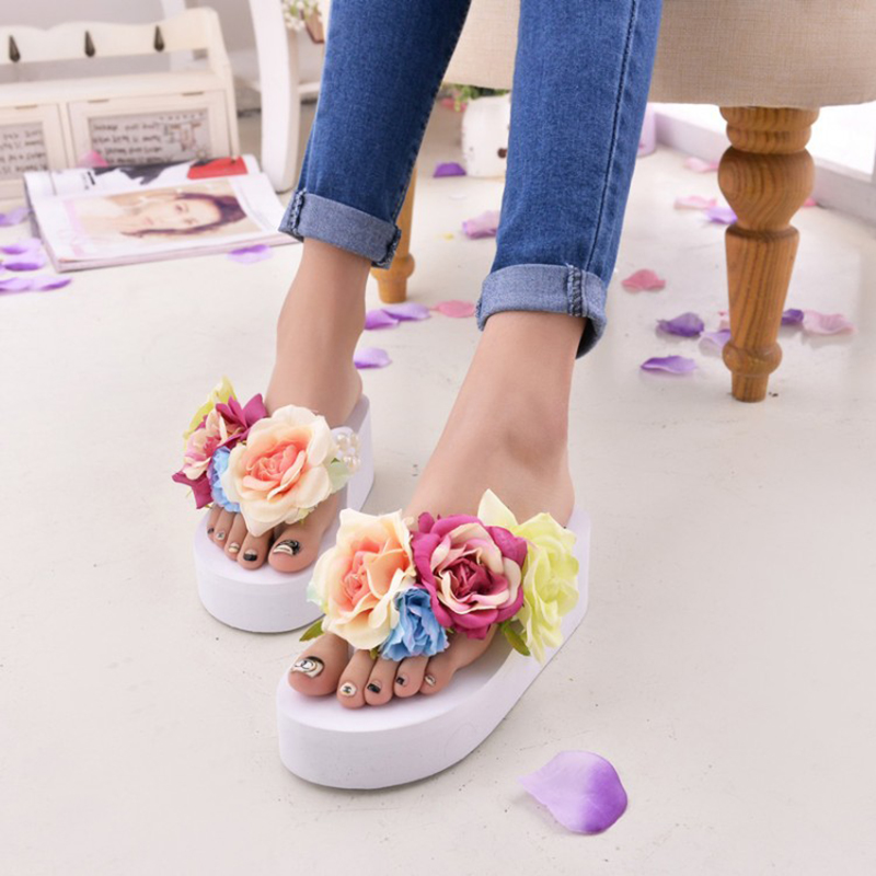 2016 Women Summer Sandals Fashion Flower Wedges Flip Flops Platform Slippers Shoes(Fits small,take a size larger than normal)(China (Mainland))