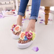 Цвет блок цветок украшение клинья сладкий трехмерная вьетнамки платформа тапочки обувь