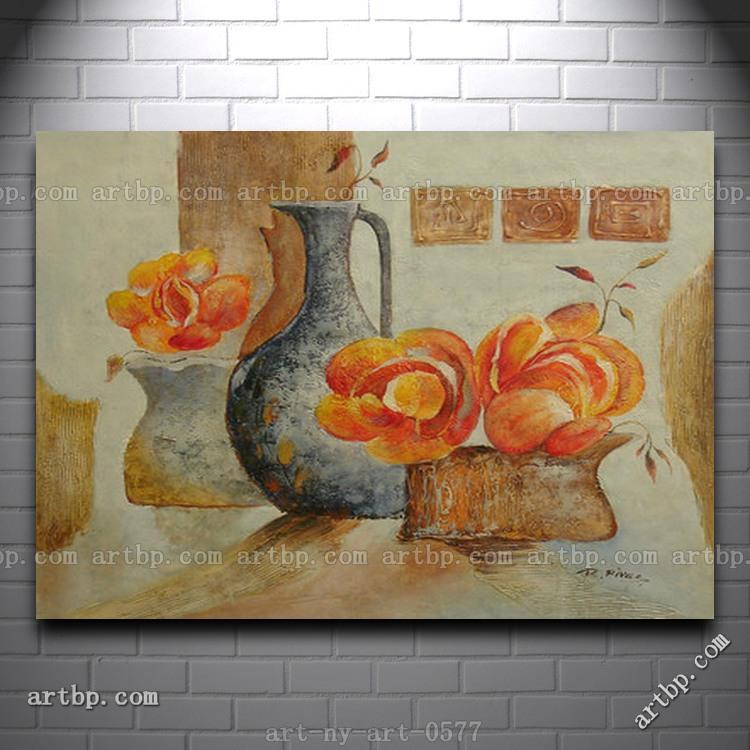Pittura a olio moderna di still life fiori in vaso da decorazione della casa del contenitore immagini a parete per soggiorno(China (Mainland))