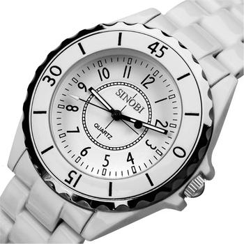 New Fashion Mens Ladies Elegant Watches Wrist Watch Quartz Sinobi Watch White Dress Analog