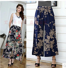 summer 205  new cotton linen pants women middle-aged  loose plus-size elastic waist trousers print  Wide Leg Pants AE228