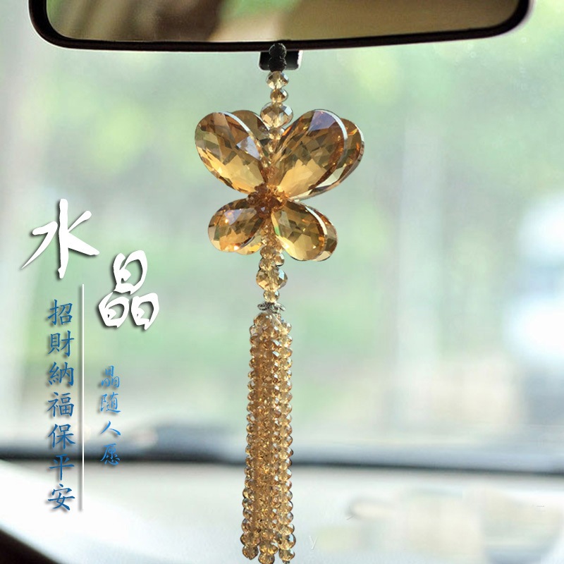 Valentines Gift Gold Crystal Butterfly Hanging pendant Car Ornament Car Rear View Mirror(China (Mainland))