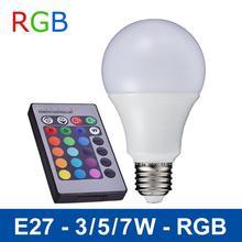 New e27 rgb ha condotto la lampada 3 w 5 w 7 w led rgb lampada della luce di lampadina  110 v 220 v telecomando 16 cambiamento di colore lampada led luz a65 a70 a80(China (Mainland))