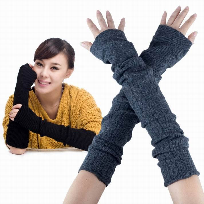 Retail High quality solid color designs rabbit wool winter warm women gloves knitted slim half finger Arm Warmers Free shipping(China (Mainland))