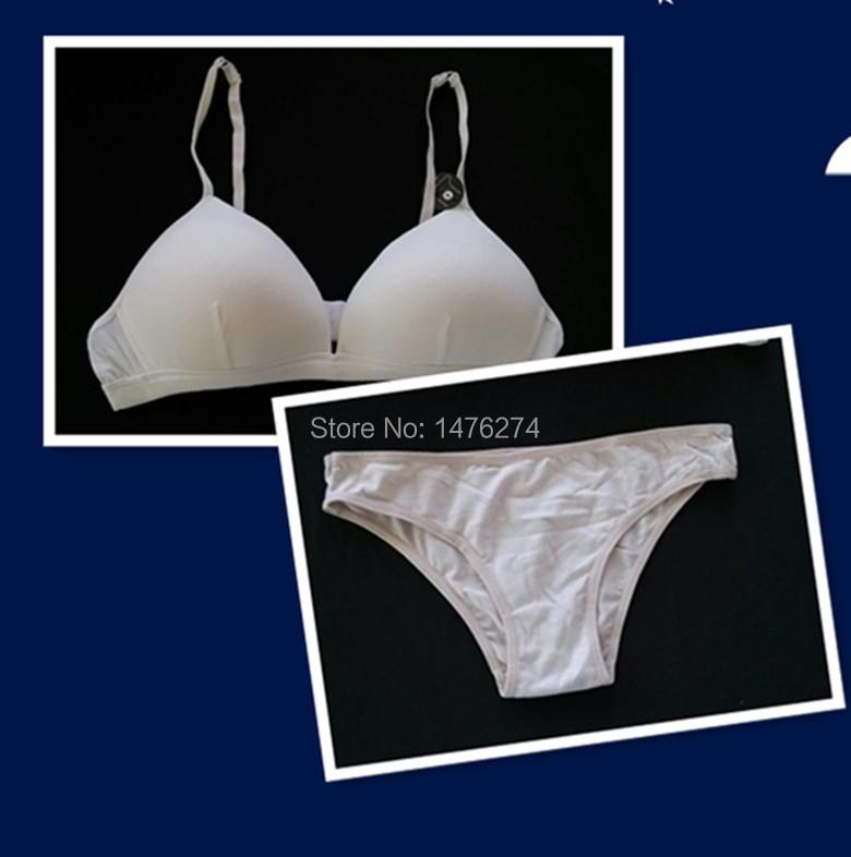 Women sports bra set wire free 100% cotton pink /khaki/white color32A/34B/36C size fit girls