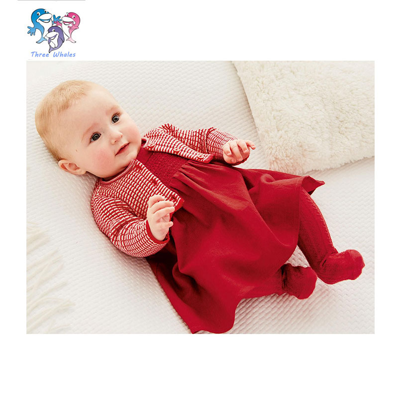 Newborn font b Girl b font Clothes Cotton Red Dress And Knit Sweater Birthday Outfits Baby