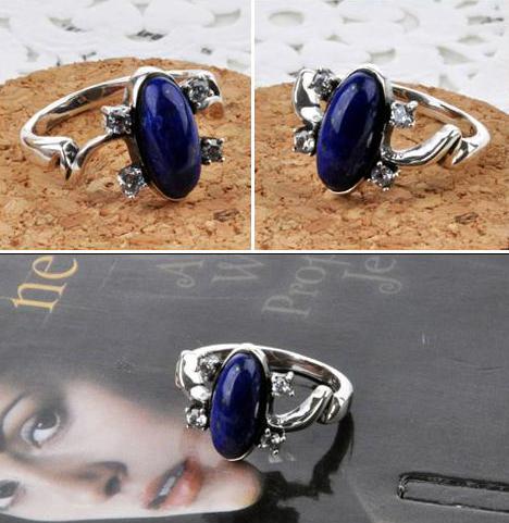 Top Quality! Fashion Vampire Heroine Elena Rings Rhinestone & Lapis Lazuli White K Plated Ring SR119(China (Mainland))