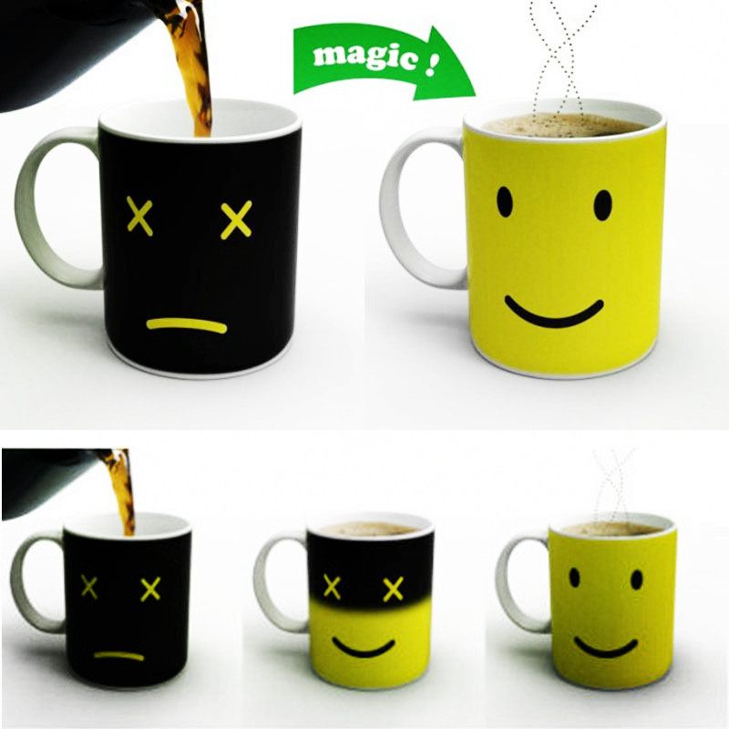 Creative Smile Face Colour Expression Changes Ceramic Coffee Mug Magical Temperature Sensing Coffee Cup Novelty Gift(China (Mainland))
