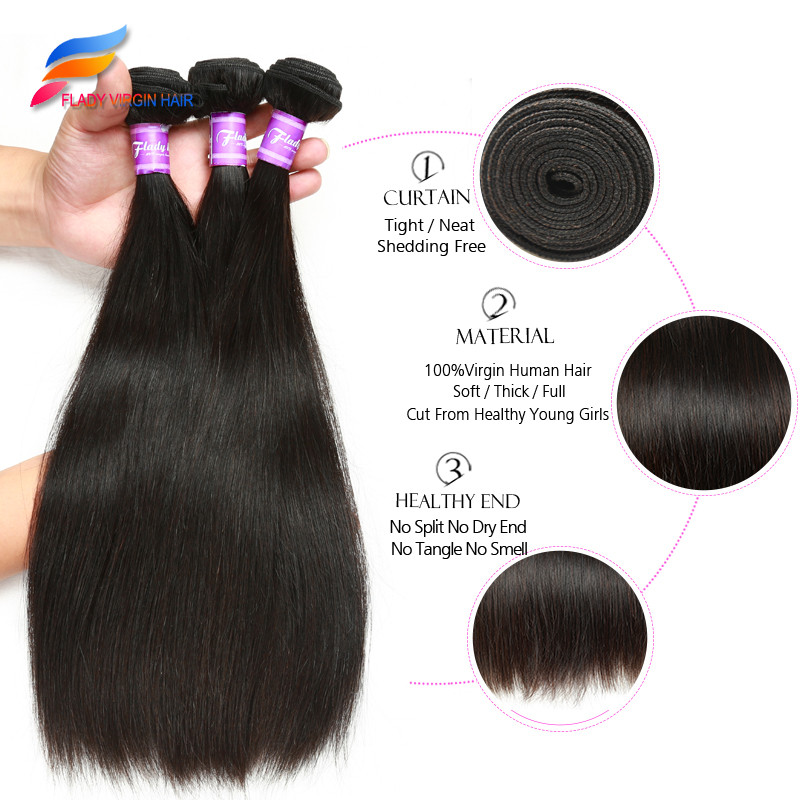 7A Brazilian Straight Hair With Closure 3 Bundles With Closure Brazilian Virgin Hair With Closure Human Hair With Closure