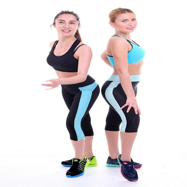 Женщины капри эластичный спортивная бег спортивные штаны высокой талией кадрированные ...