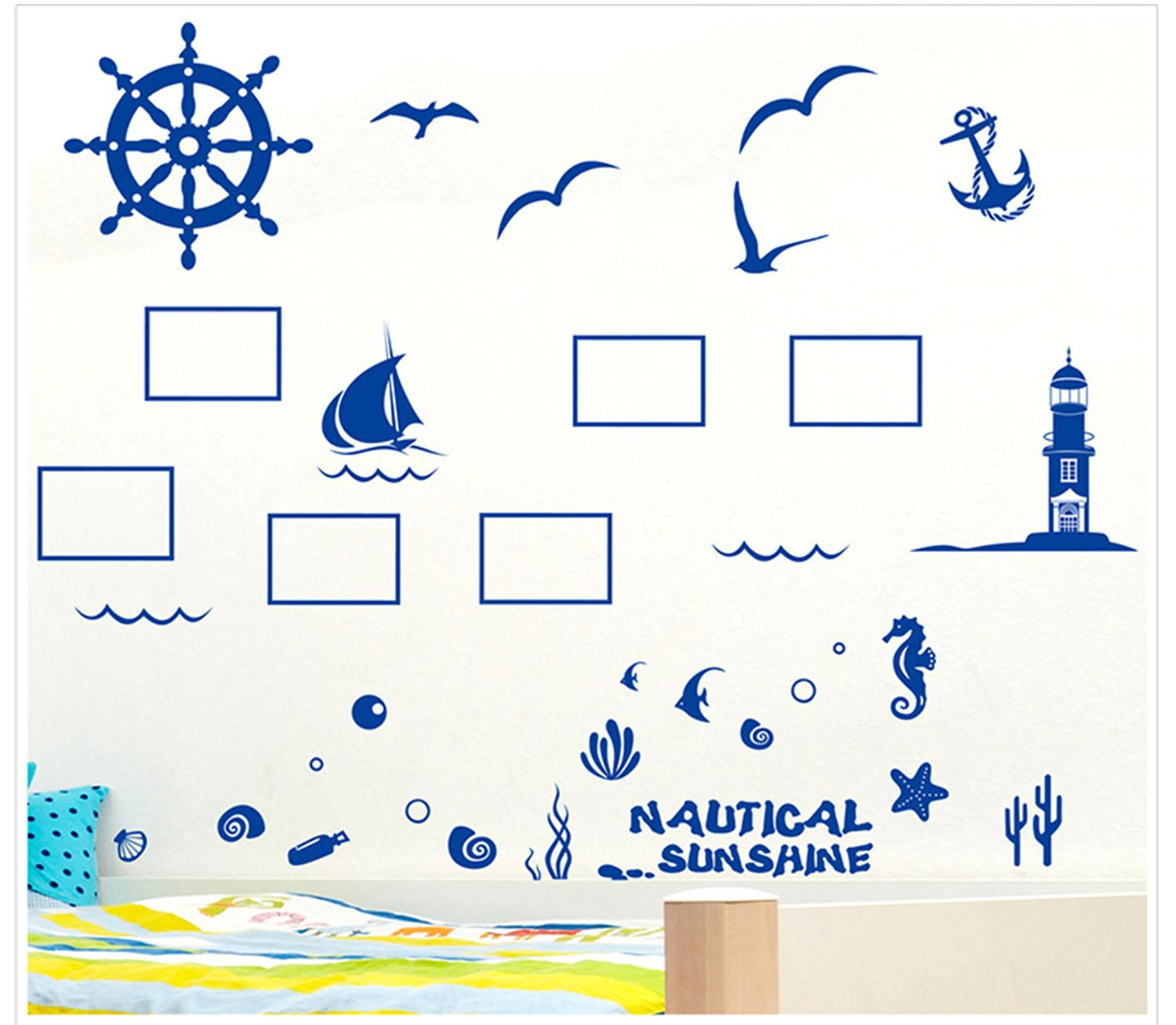 Beautiful <font><b>Nautical</b></font> Bird Room Decoration Fashion Removable Wallpaper Wall Stickers <font><b>Home</b></font> <font><b>Decor</b></font> Living Room Diy Wall Decals