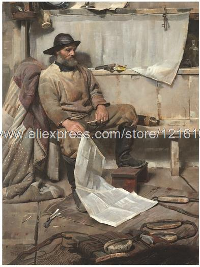 Frank Richards The Fisherman Charts Beard Souwester Man Boots Tools New hand painted african decor large wall decor for(China (Mainland))