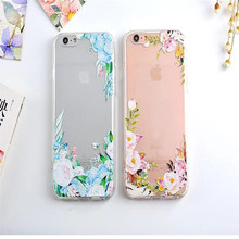 For Apple IPhone 6 6s 6plus 6s plus Phone Case Soft TPU Transparent Flowers relief Design Mobile Phone Bag