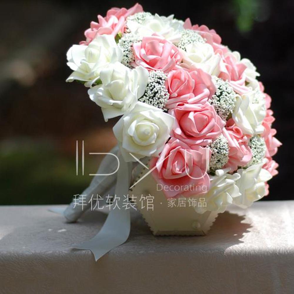 Pink Rose cream mix and match simulation bride holding flowers Korean wedding photo wedding bouquet ramos de novia(China (Mainland))