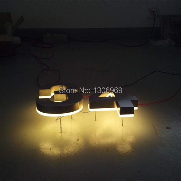 Customized led letter backlit brushed and mirror stainless steel channel house number(China (Mainland))