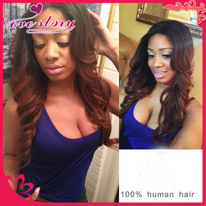 Beauty ombre full lace wigs human hair middle part lace front wig two tone wavy 130% density glueless lace wig bleached knots
