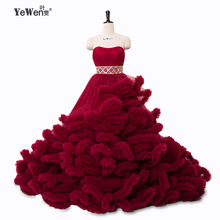 Buy Real photo winter Luxury Pregant Top Lace Cloud puffy Wedding Dress Burgundy Bridal Gowns Robe De Mariage Rouge 2016 for $209.30 in AliExpress store
