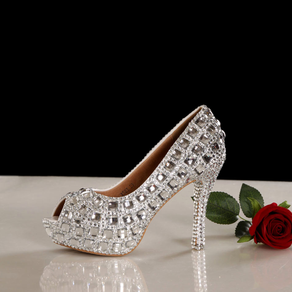 Smarten open toe rhinestone platform high-heeled shoes white wedding shoes princess shoes girl shoes<br><br>Aliexpress
