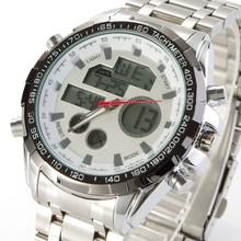 2016 Men Full Steel Sports Watch 30M Waterproof Quartz Digital Watch LED Military Watches Solar Powered Wristwatches Relogio(China (Mainland))