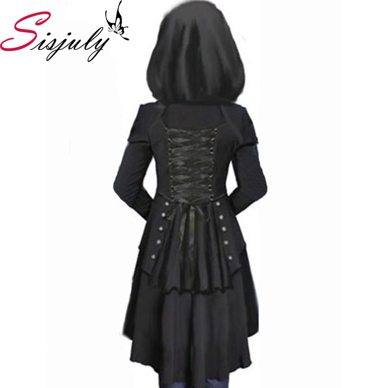 Sisjuly Black Overcoat Corset Hooded Long Sleeve Women Thick Long SLeeve Loose Women's Overcoat(China (Mainland))