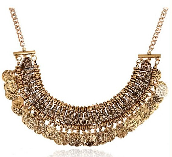 Min. order is $9(mix order) Big necklace exaggerated retro metallic coins carved necklace pendant(China (Mainland))