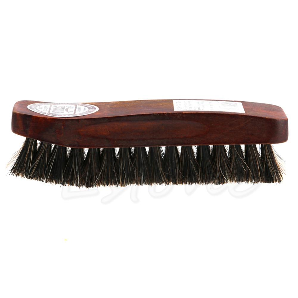 Practical Horse Hair Professional Shoe Shine Polish Buffing Brush Wooden New(China (Mainland))