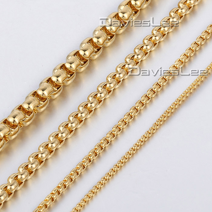 2/3/4/5mm Mens Boys Chain Womens Round Box Link Gold Color Stainless Steel Necklace Customized Wholeasale Jewelry LKNM28(China (Mainland))