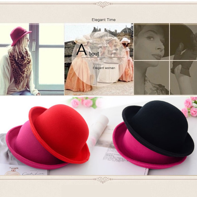 Women s Roll Brim Derby Fedora Dome Cap Girls Fashion Vintage Bowler Top Hat