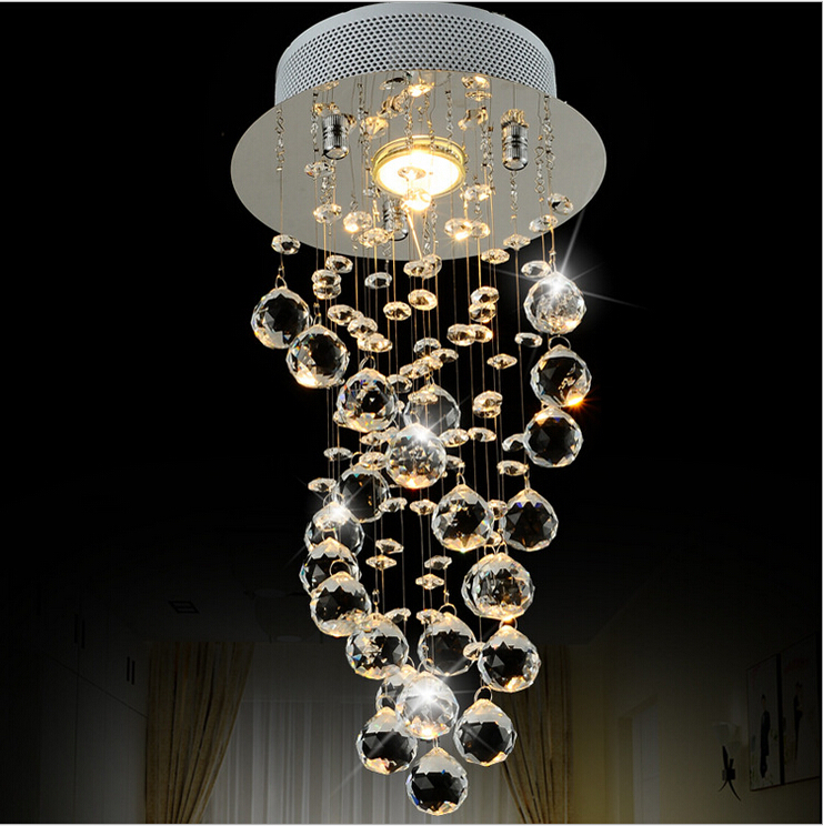 Modern Small crystal Chandeliers Circular rotation LED lamp lustre LED Chandeliers Corridor     -> Lampadari Design Camera Letto