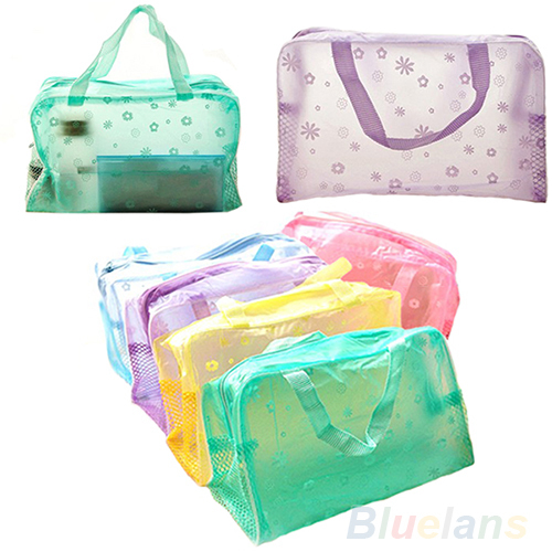 Hot Floral Print Transparent Waterproof Makeup Make up Cosmetic Bag Toiletry Bathing Pouch 1JWH(China (Mainland))