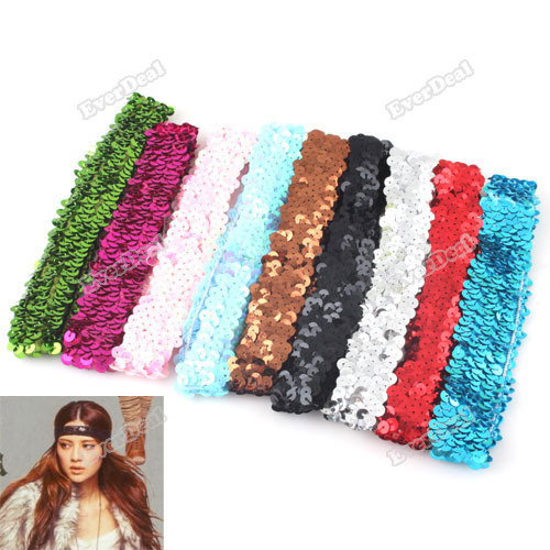 everdeal 5 PCS Sparkle Sequin Stretch Headband 1 Team Softball Basketball Volleyball Sports Save up to 50%(China (Mainland))