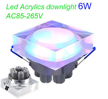 2pcs x 6W crystal led  square spot downlight AC85-265V light fixture for home dec Acrylics Led Ceiling(China (Mainland))