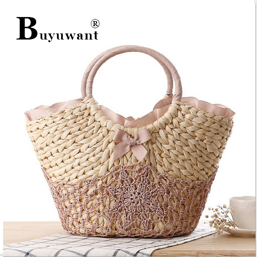 The manual hook hand carry weave bag silk lace bowknot straw bag Recreation beach Straw Bag Series Women Topes Bag Series(China (Mainland))