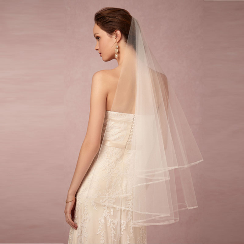 2016 cheap Two-Layer Dress New White Bridal Veils Bridesmaid Accessories Cheap Short Wedding Veil Hot Sale Online From China(China (Mainland))