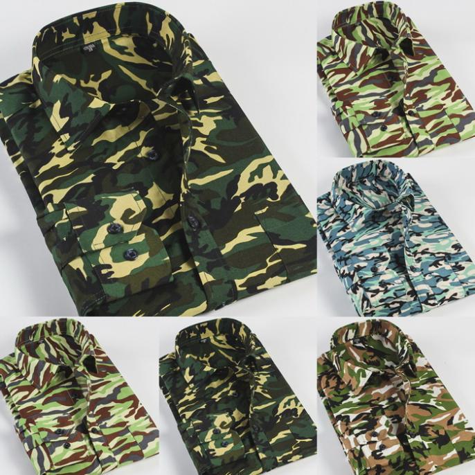 Men Camouflage Shirts Plus