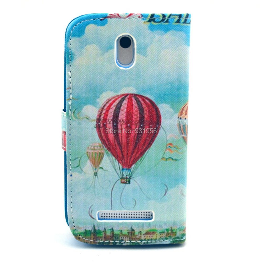 Blue Sky Hot Air Balloon Design Leather Flip Stand Wallet Pouch Bag Cover Case For HTC Desire 500 New Hotsale(China (Mainland))