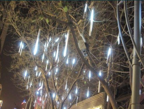 Meteor Shower Falling Star Rain Drop 50CM 240LED 8Tubes White Xmas Tree Light(China (Mainland))