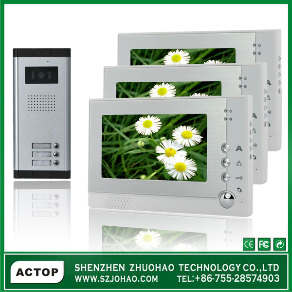 video doorphone with recording function for 3 apartment, night vision, free shipping(VDP313+CAM211A-2)