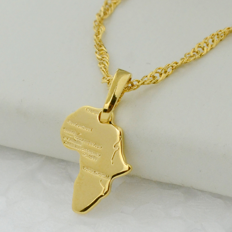 africa map gold chain