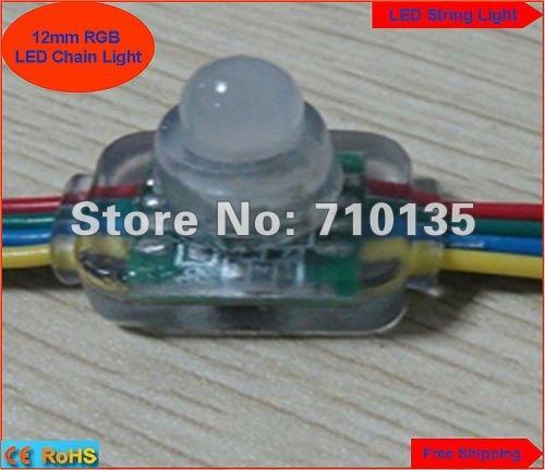 Waterproof DC5V 12mm Square RGB LED string light LED Module Highlight Superflux full color pixel LED Module 200pcs free shipping(China (Mainland))