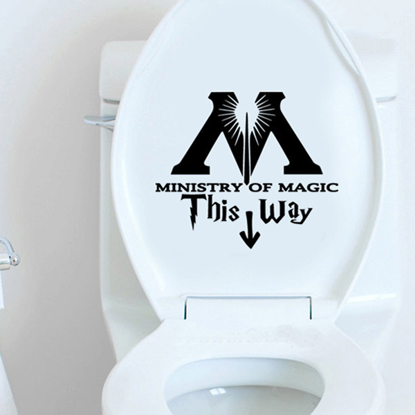 Ministry of Magic This Way Vinyl Decal Harry Potter Sticker Wall Quote Art Wall Stickers Home Decor 25CM Heigh Toilet Sticker(China (Mainland))