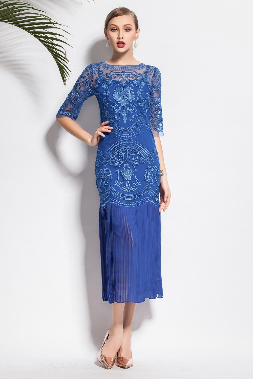 New Arrival 2015 New Fanshion Vintage Elegant Dresses Solid Violet / Blue Embroidery Hollow Dress(China (Mainland))