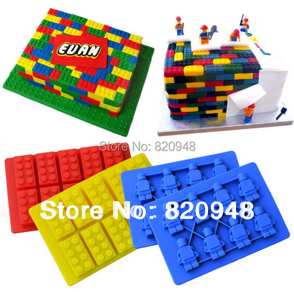 Cake Tool 1 Set = 1 Bruilding Brick & 1 Figure Silicone Mould Robot For Lego Mold Baking Chocolate Birthday Topper Ice Cube(China (Mainland))