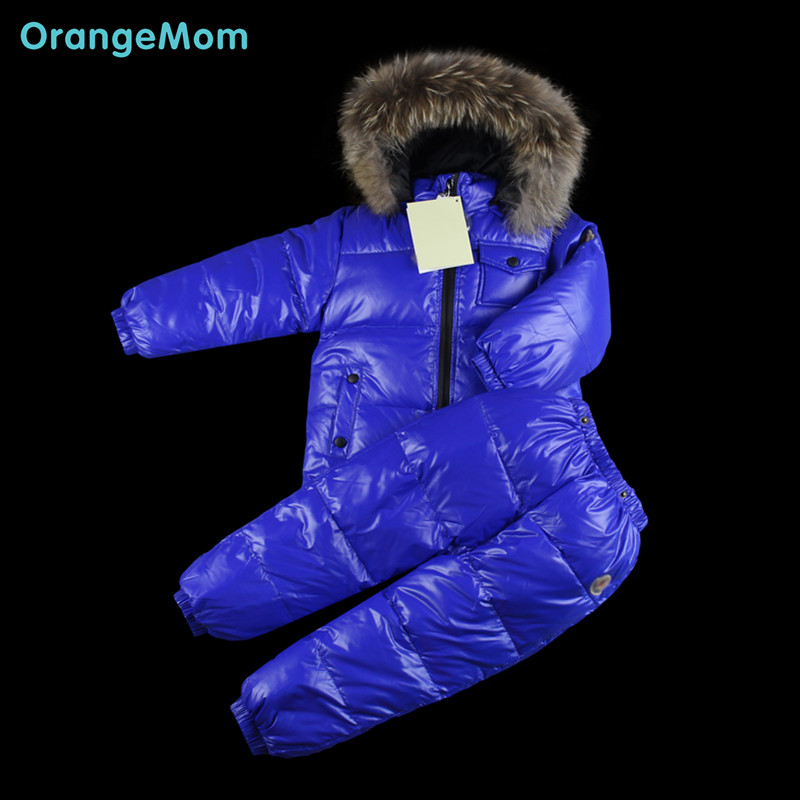 Фотография 2016 new winter clothes for kids , 90% duck down warm overalls for a boy coats down jackets for children parka with hood snow