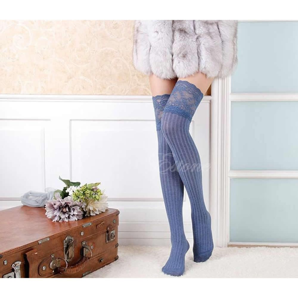 Free shipping Womens Lace Knitting High Socks Over Knee Thigh Pantyhose Warm