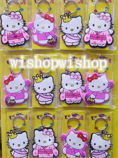 New 24 pcs Hello Kitty Key Chains DIY Metal Key Ring For Gifts pY010(China (Mainland))