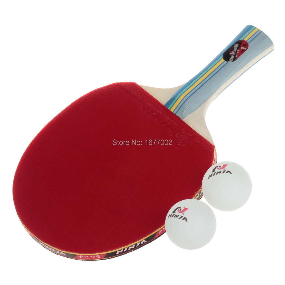 Sports 1 Star Table Tennis Paddles with 2 Balls - color Blue + Red + Yellow Straight Grip rubber and wood(China (Mainland))