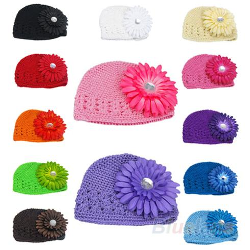 Winter Warm Cute Baby Girl Infant Toddler Hand Crochet Beanie knitted Hat + Daisy Flower Clip Cap Accessories 03FP - Fan's Jewerly Store store
