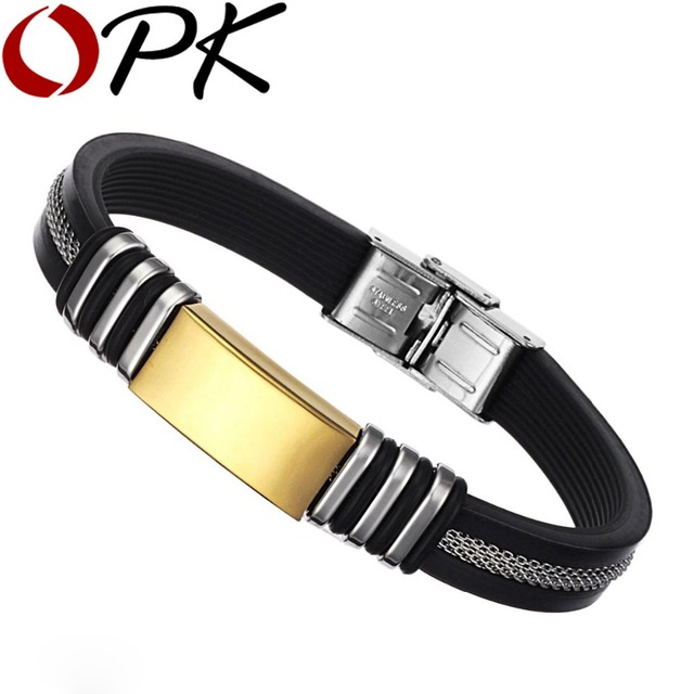 OPK Silicone + Stainless Steel Bangles Casual/Sporty Black/Gold Plated Wristband Mens Friendship Jewelry PH880